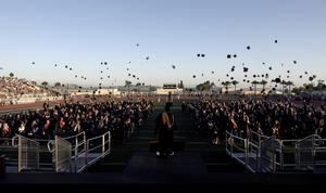 YLHS graduation hat throwing