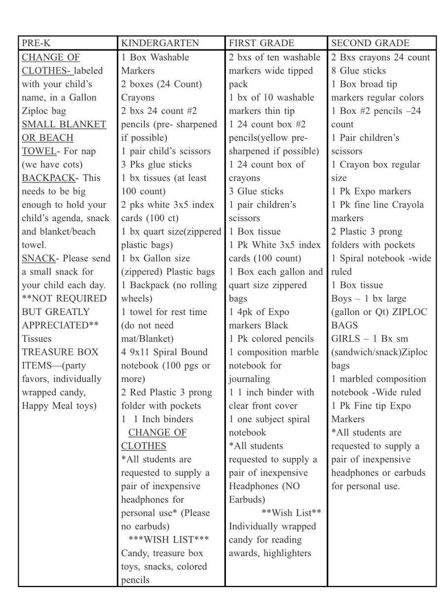 Pre-K-2 Supply List