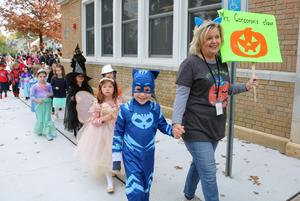 Photo of Lincoln School Halloween Parade.
