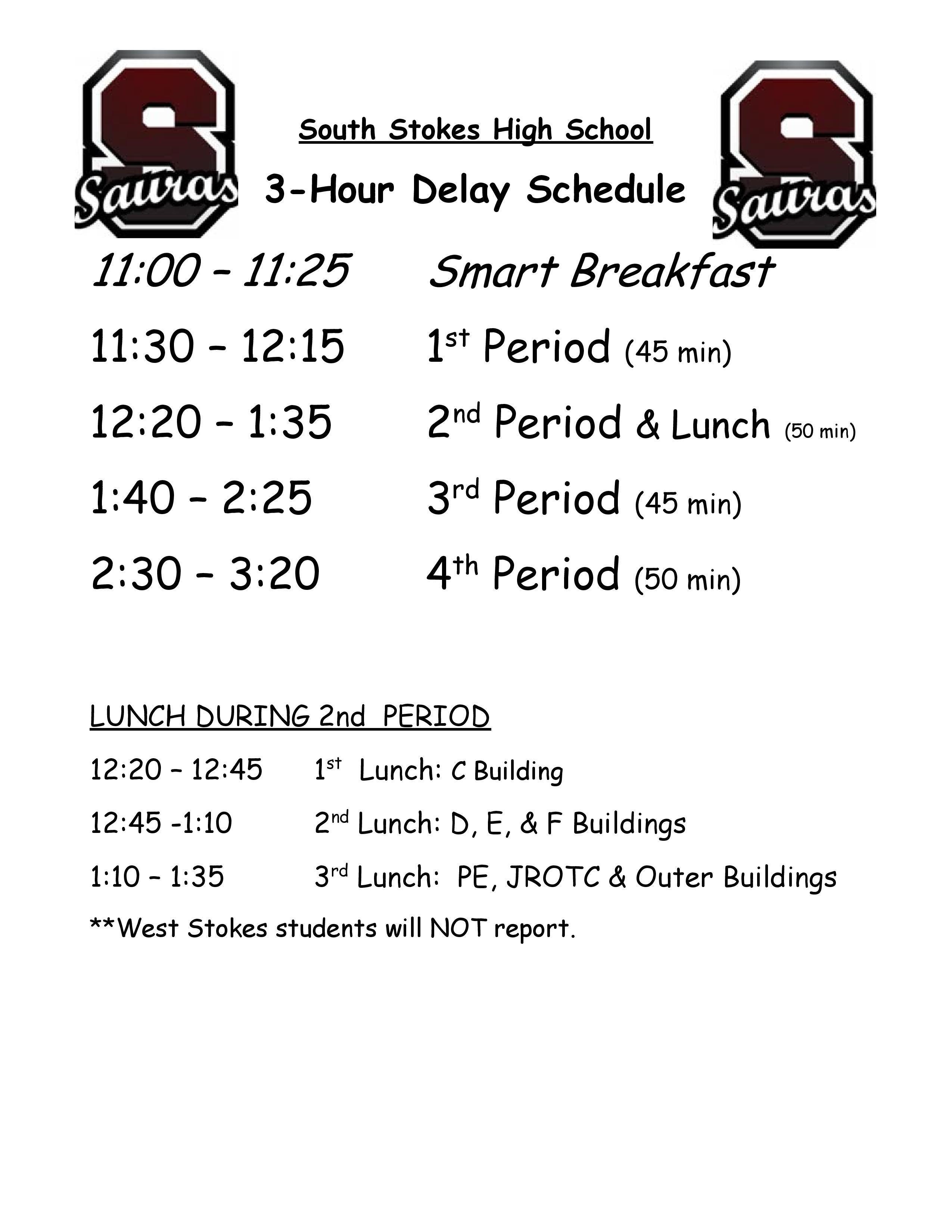 3 Hour Delay Schedule