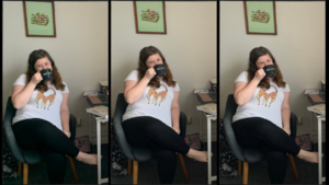 triptych of teacher holding ICA Cristo Rey mug at her work from home desk