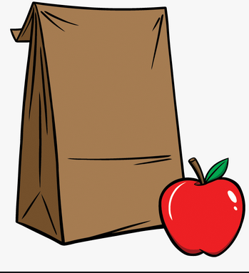Brown paper lunch bag and apple