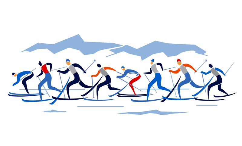 Clip art, cross country skiers striding from left to right