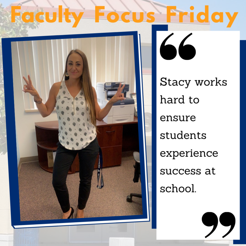 Stacy Ciampa giving a peace sign with the Faculty Focus Friday border around her picture.