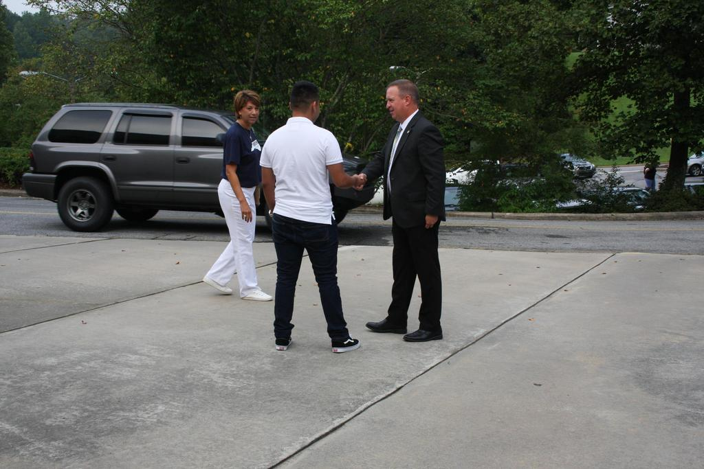 Superintendent, Mark Byrd, and Principal, Michelle Shepherd, welcome students back to WECHS on the first day of school