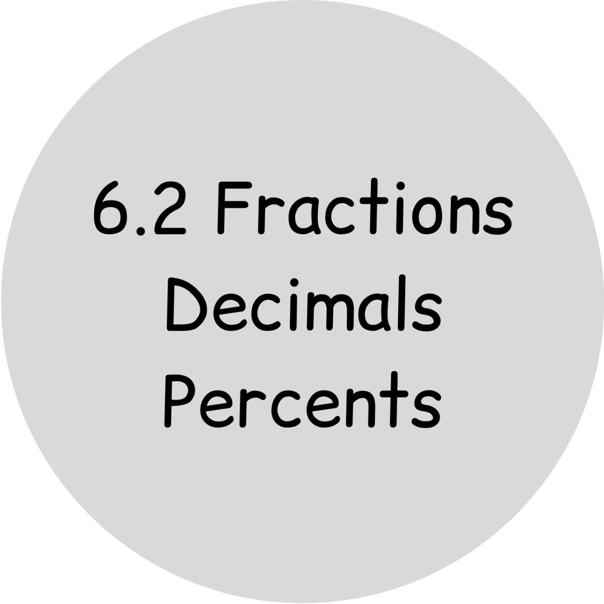 6.2 Fractions, Decimals, Percents