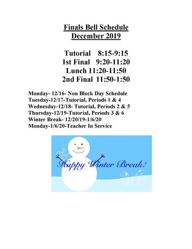 Finals Schedule/Winter Break Thumbnail Image