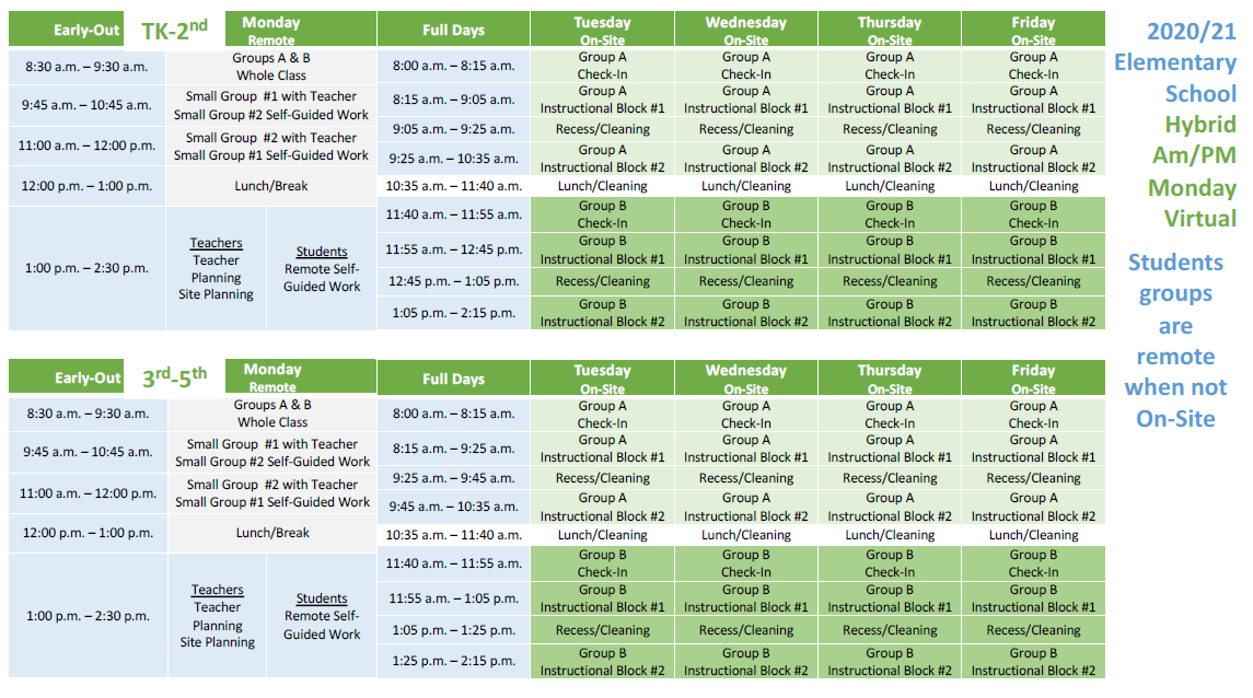 Elementary Hybrid Schedule (please call 714-843-3200 if you need assistance)