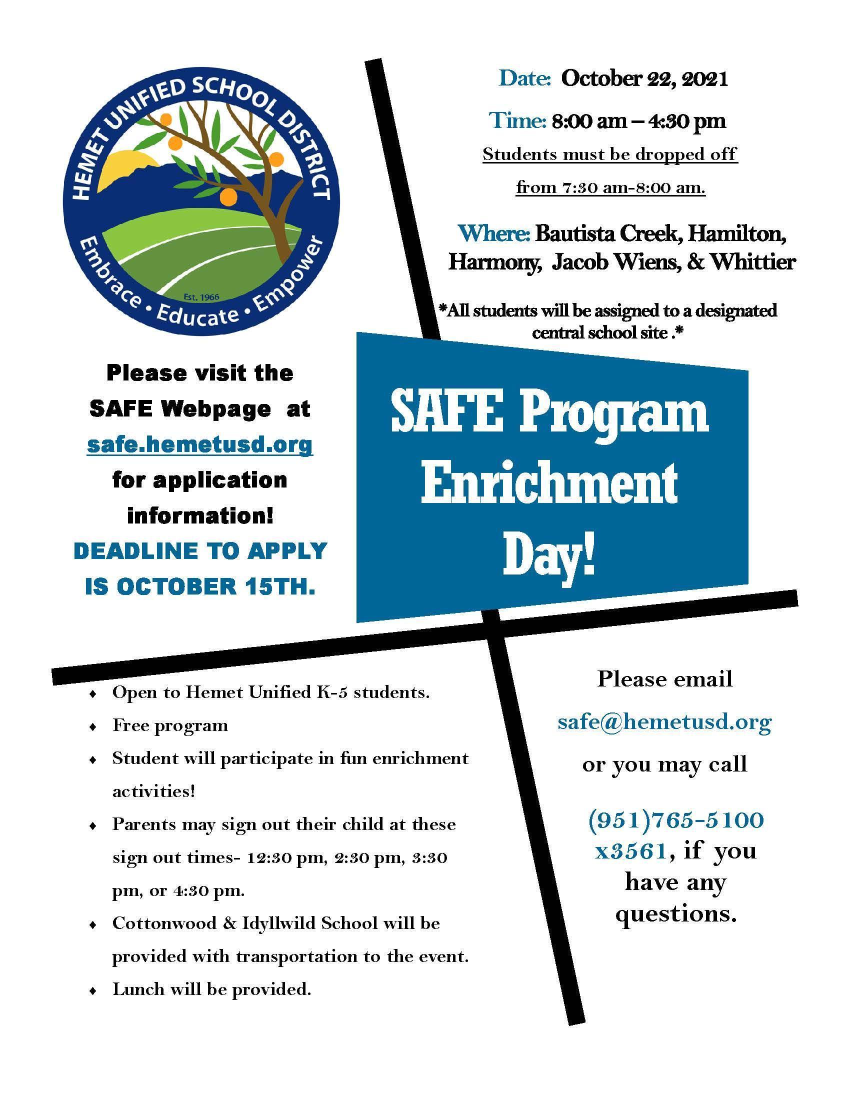 SAFE Oct 22 Enrichment Day