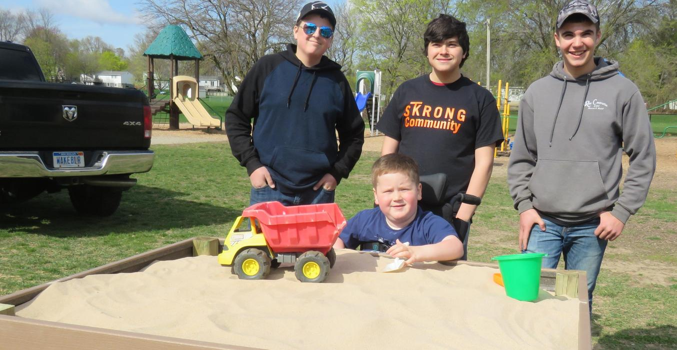 TKHS woods students made a raised sandbox for a McFall Elementary student.