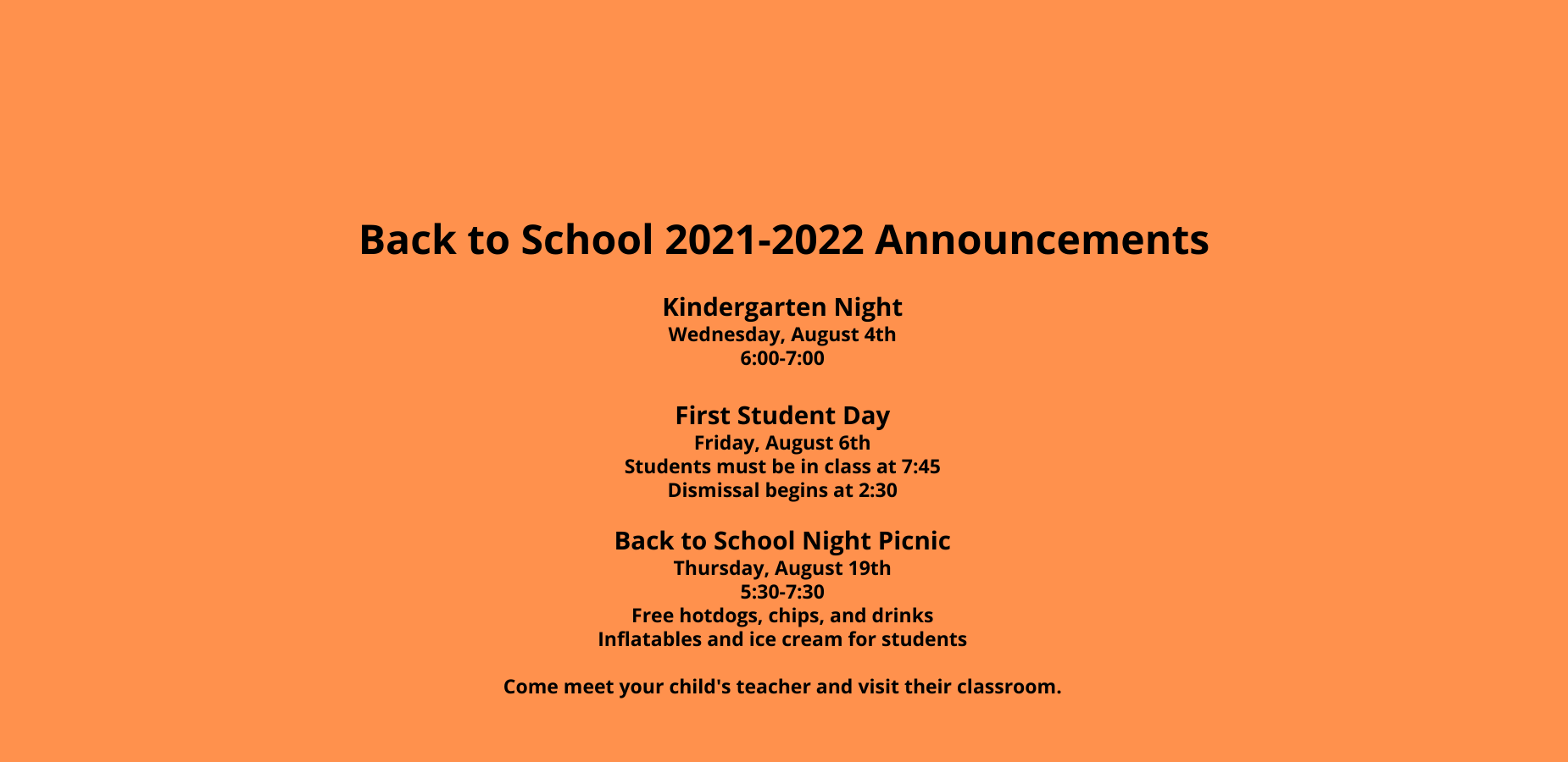 Back to School Announcements