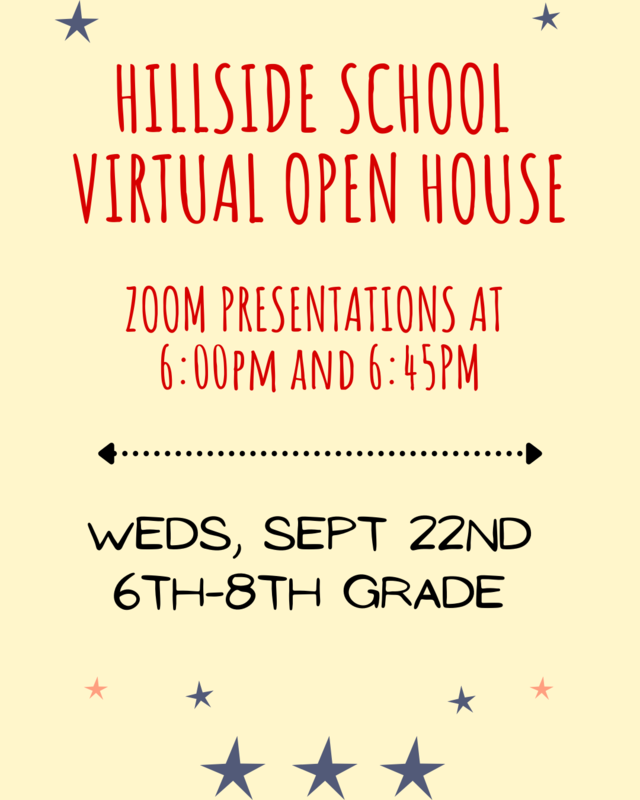 Open House via zoom at 6pm and 6:45pm