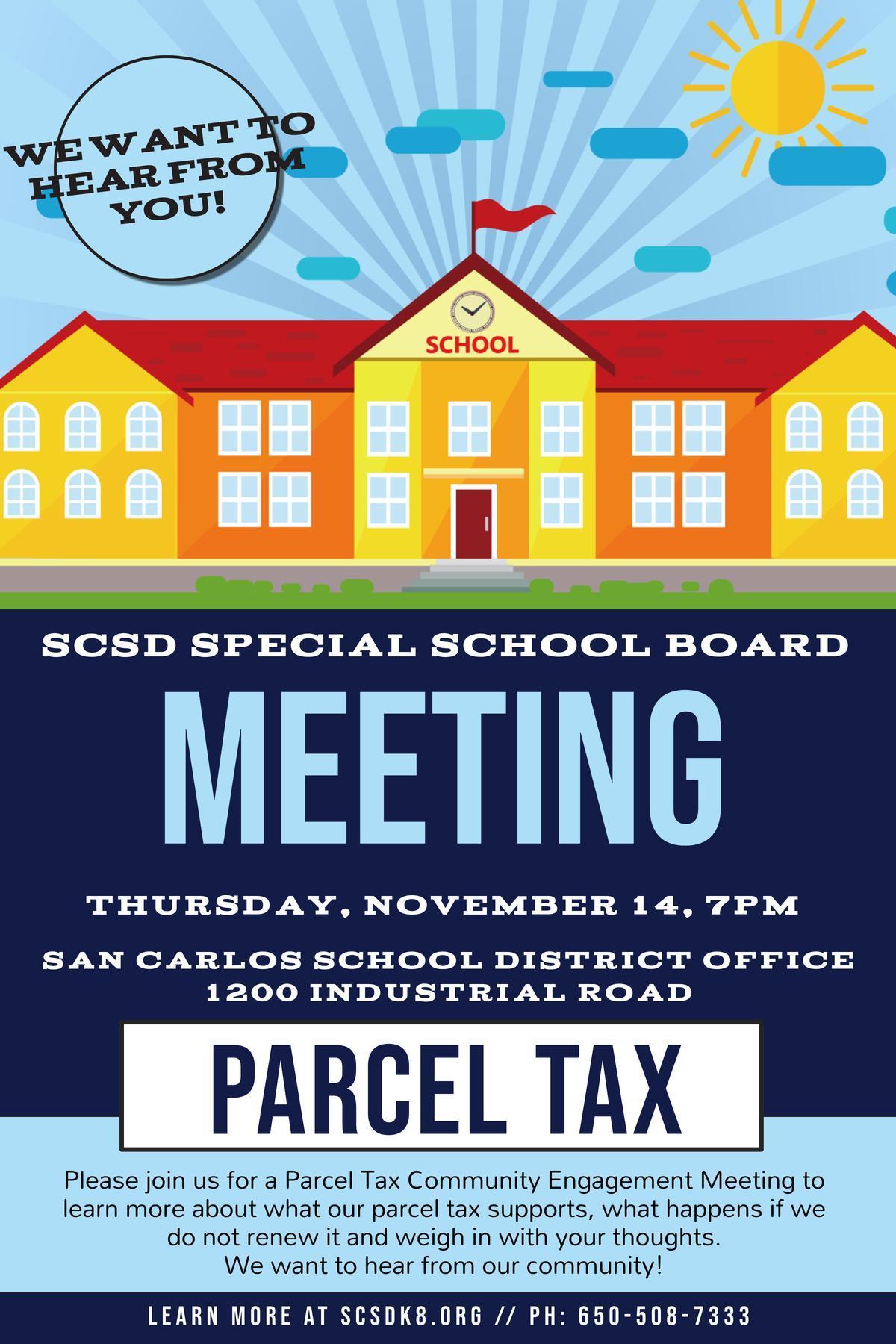 Parcel Tax Meeting Flyer
