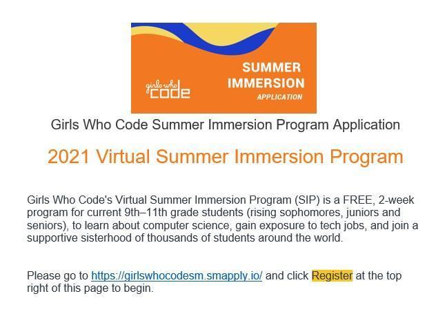 Girls Who Code Virtual Summer Program 2021