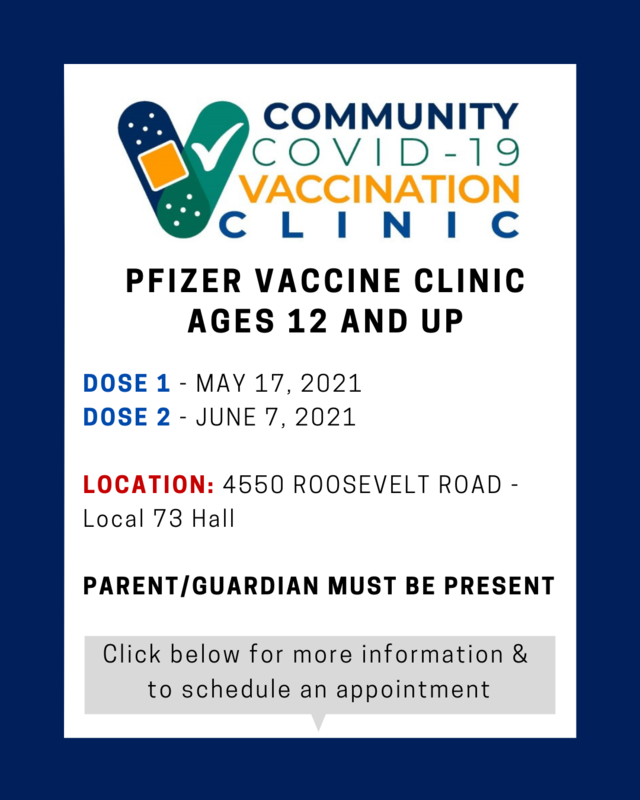 With the FDA PENDING approval of 12 and older children eligible for the COVID-19 vaccine (Pfizer), we are excited to announce that we will host free COVID-19 vaccine clinic on May 17, 2021 for ages 12 and Up. PFIZER COMMUNITY VACCINE CLINIC AGES 12 AND UP DOSE 1 DOSE 2 MAY 17, 2021 JUNE 7, 2021