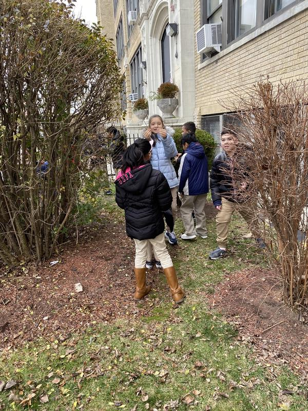 children collecting twigs in front of the school