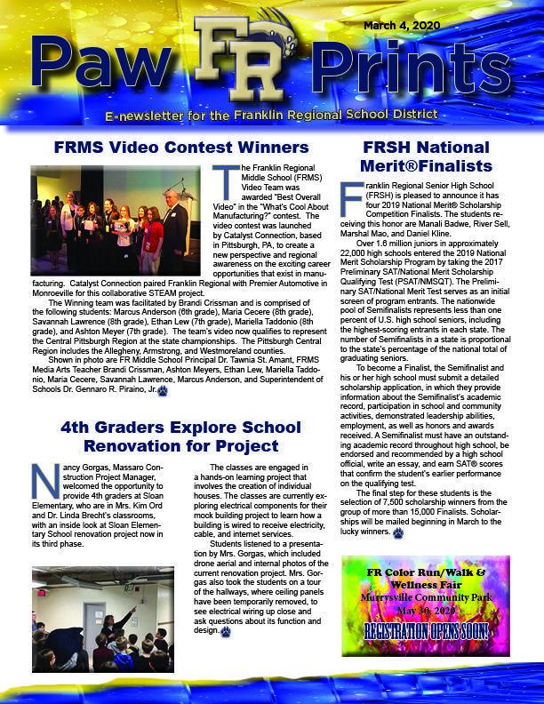 PawPrints newsletter 3.4.20