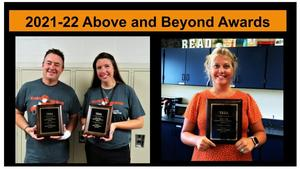 TKHS teachers Scott Aldrich and Amy Forman and TKMS teacher Laura Nikkel receive the Above and Beyond  Award.