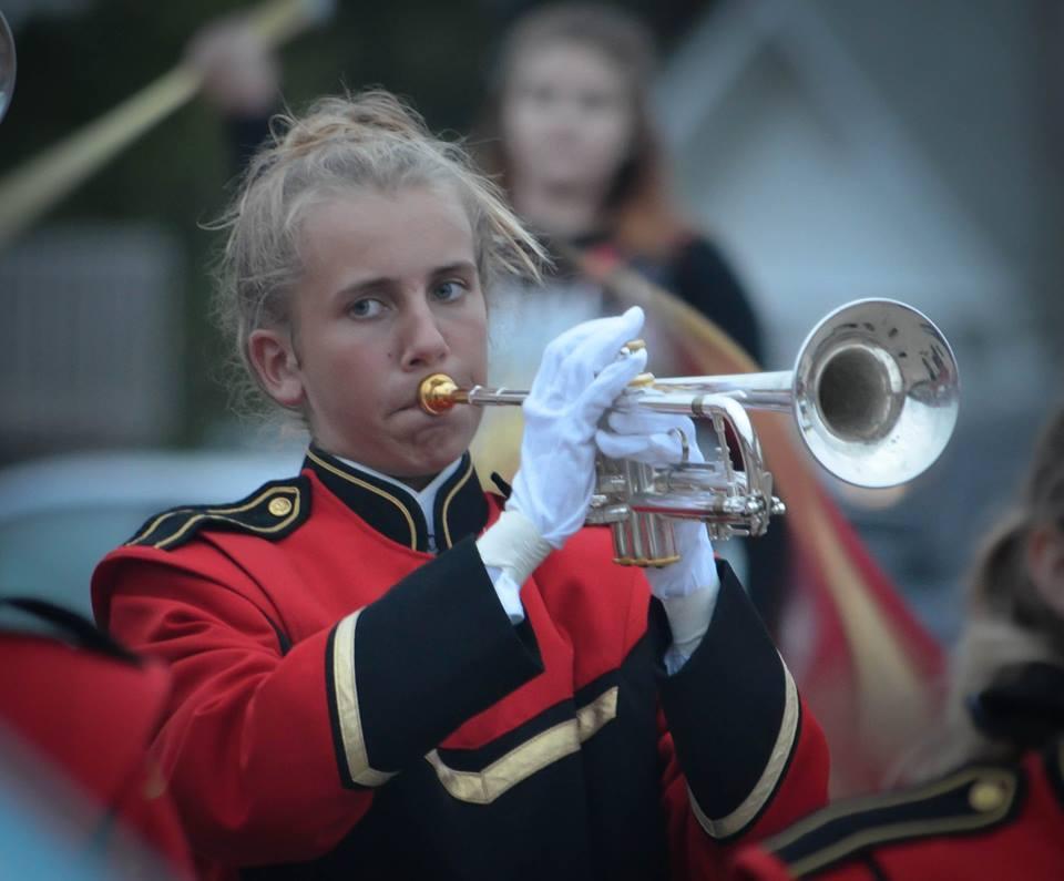 Megan playing her trumpet