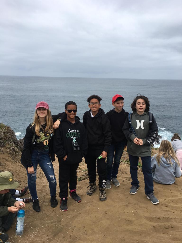 Students at beach