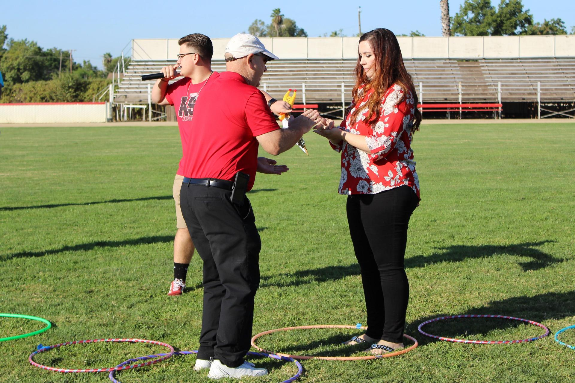 Teachers competing in a rally game