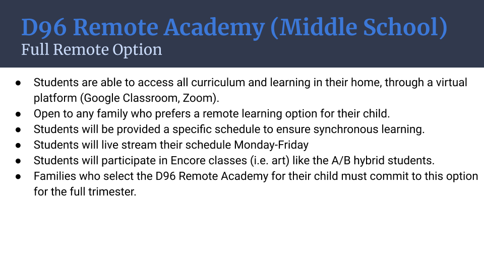 Option 2: D96 Remote Academy (Middle School) Full Remote Option
