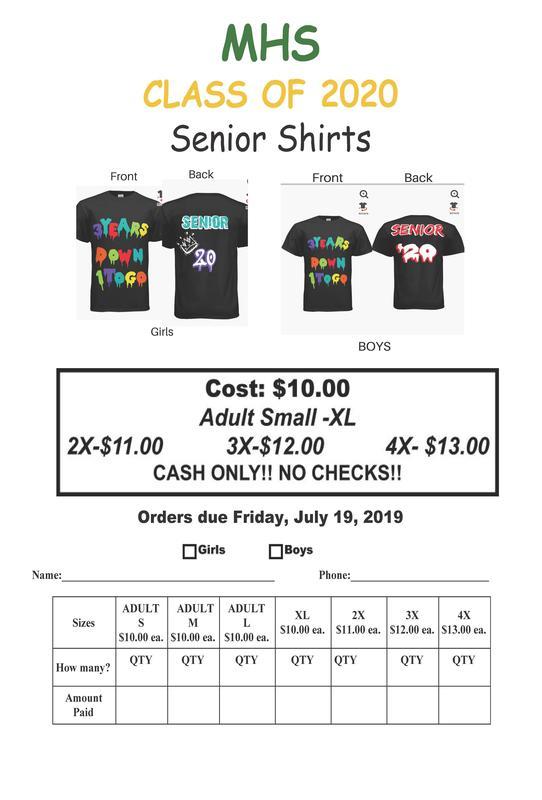 Class of 2020 shirt order form