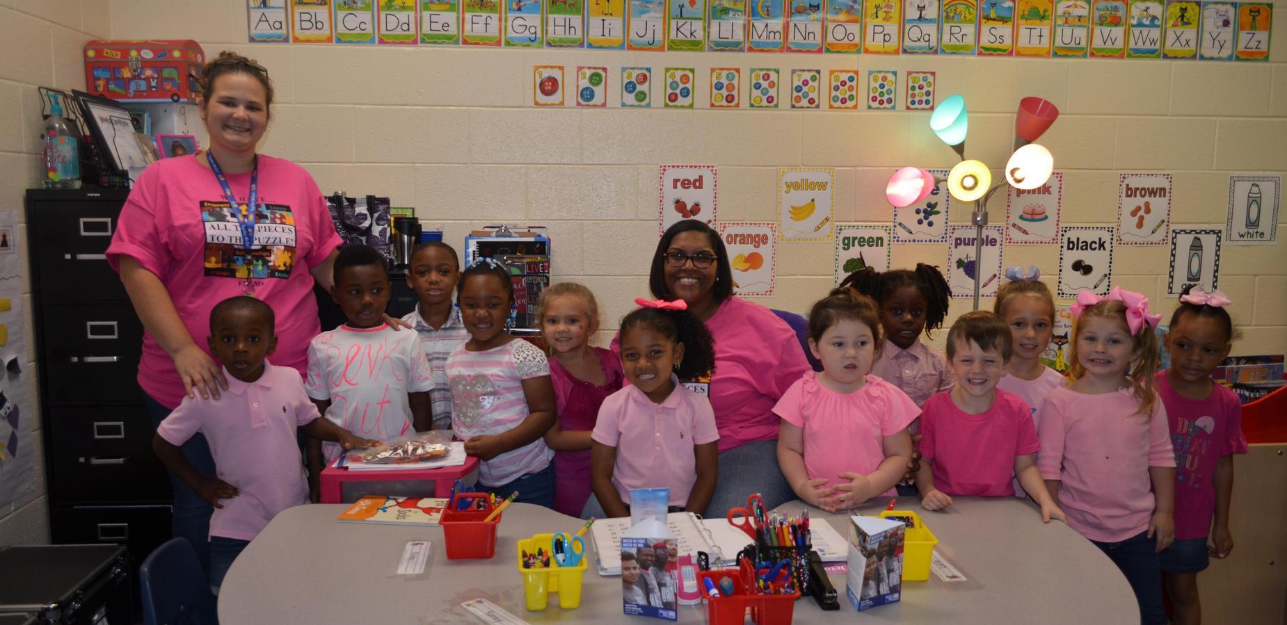4K class celebrating breast cancer awareness.