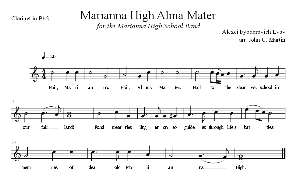 Sheet Music for Alma Mater for the Clarinet in B Flat 2