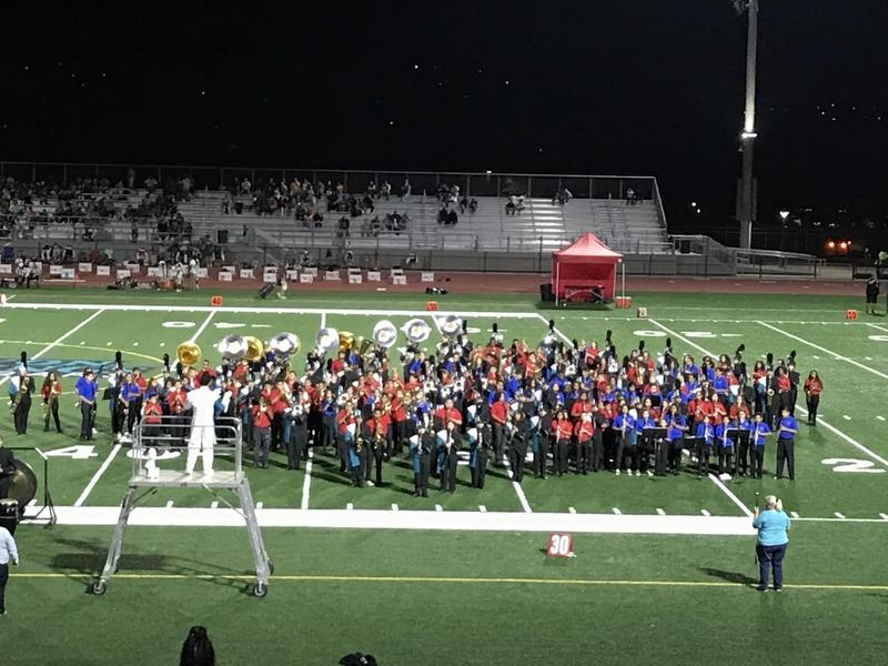 Middle School and Canyon Springs High School Bands Performing at Canyon Springs Football Field
