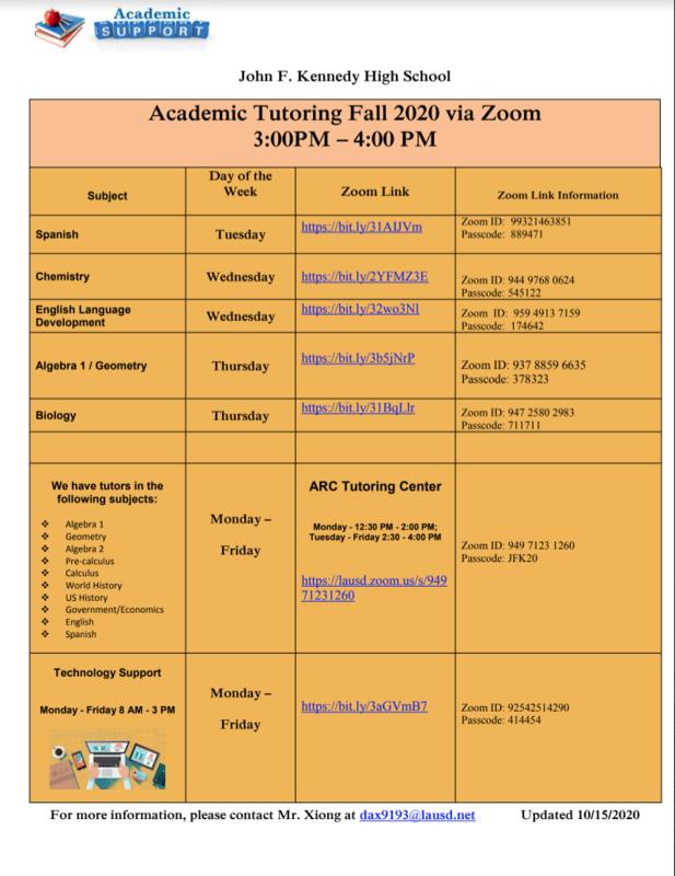 New Zoom Tutoring Schedule Featured Photo