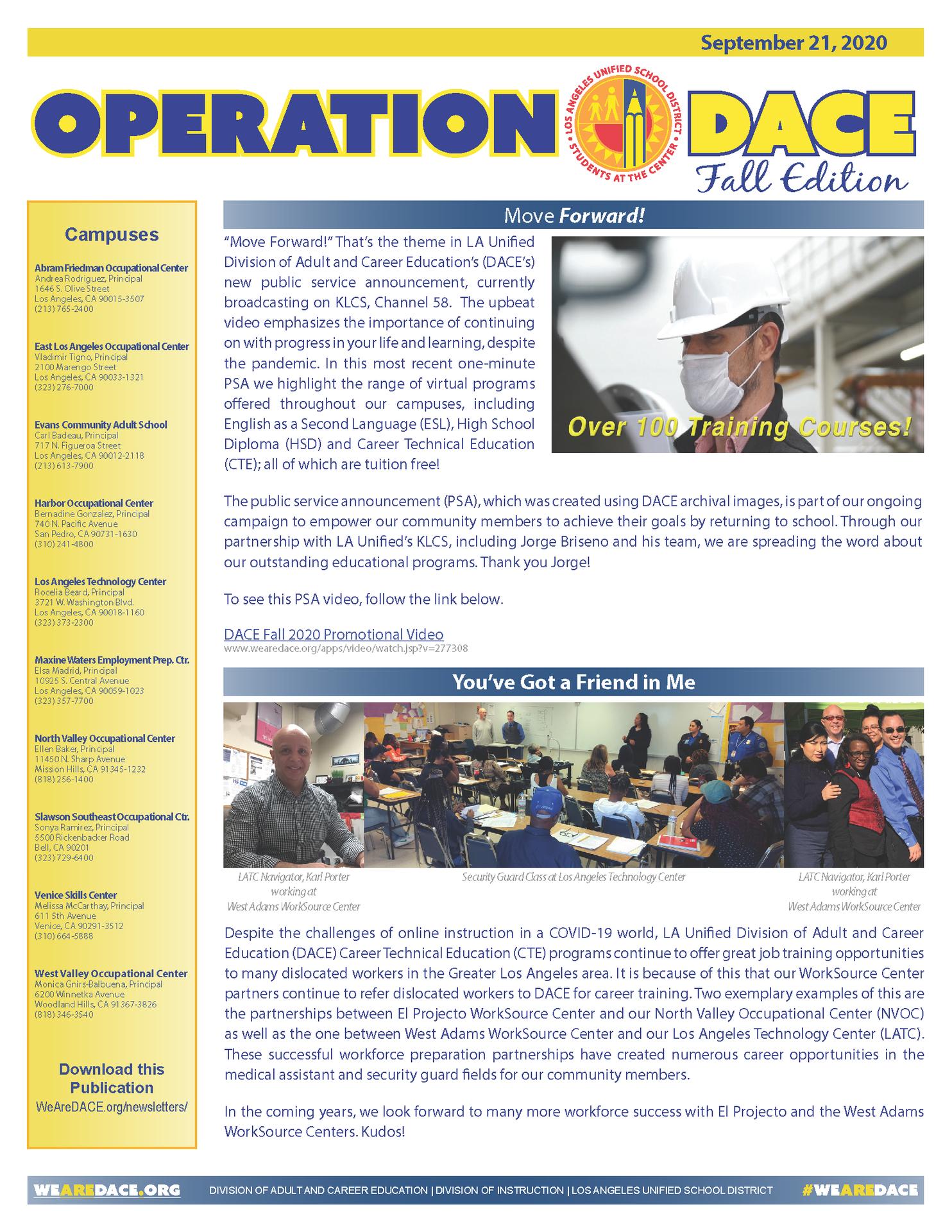 DACE Newsletter - September 21, 2020 Thumbnail