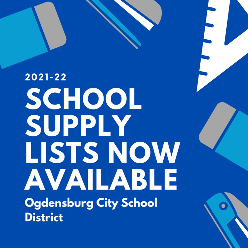 Dark blue background with light gray and light blue school supply graphics. White text reads