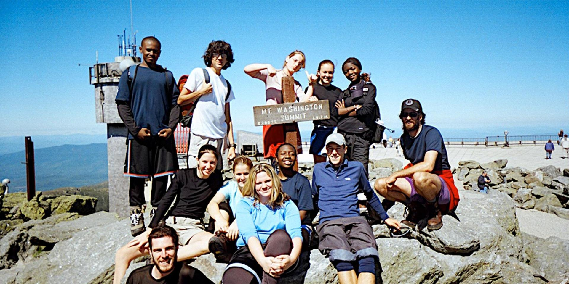 A group of students at the summit of Mt. Washington.