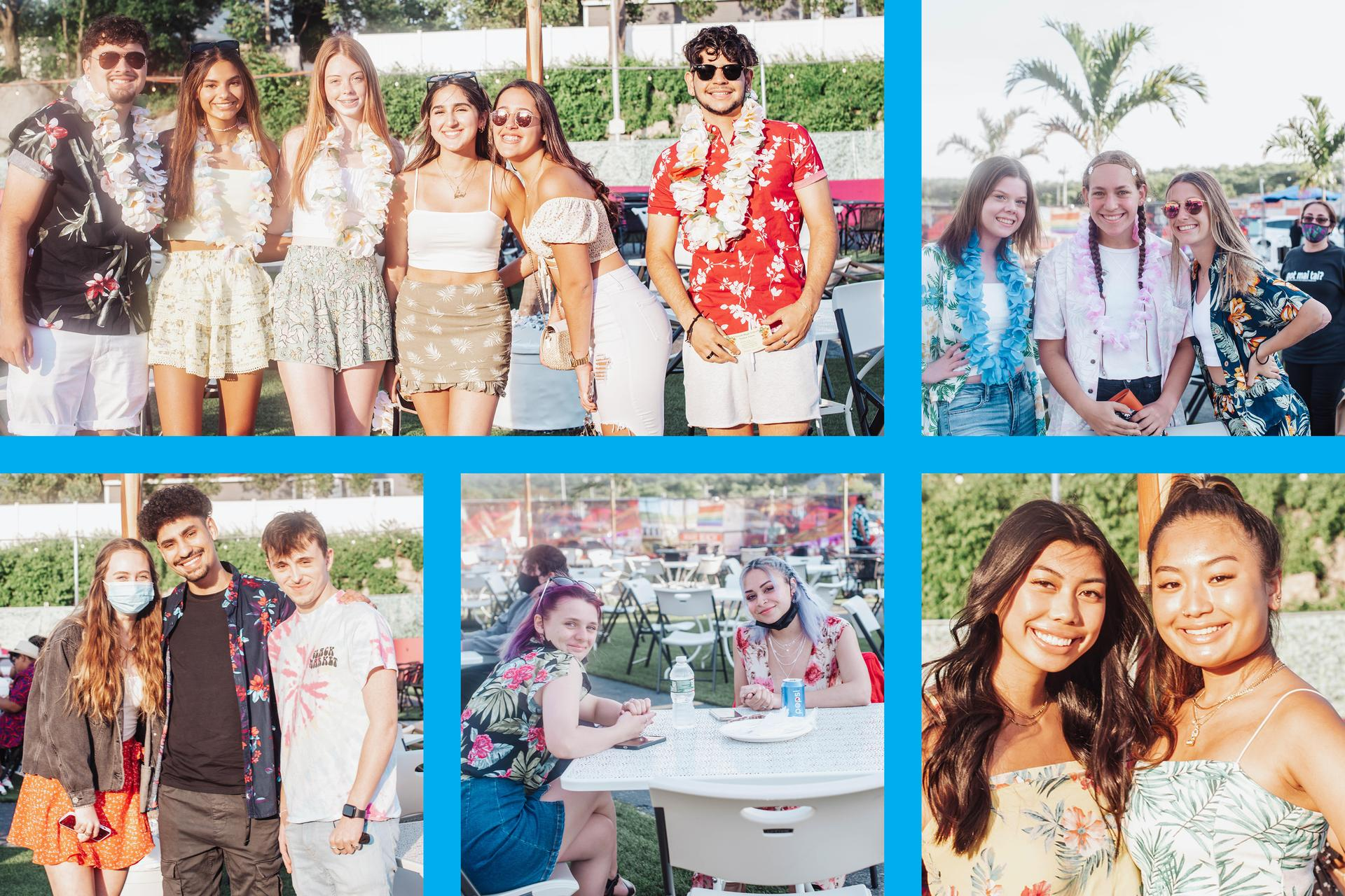 Multi-tile image of EHS students enjoying the luau at the Kowloon Restaurant