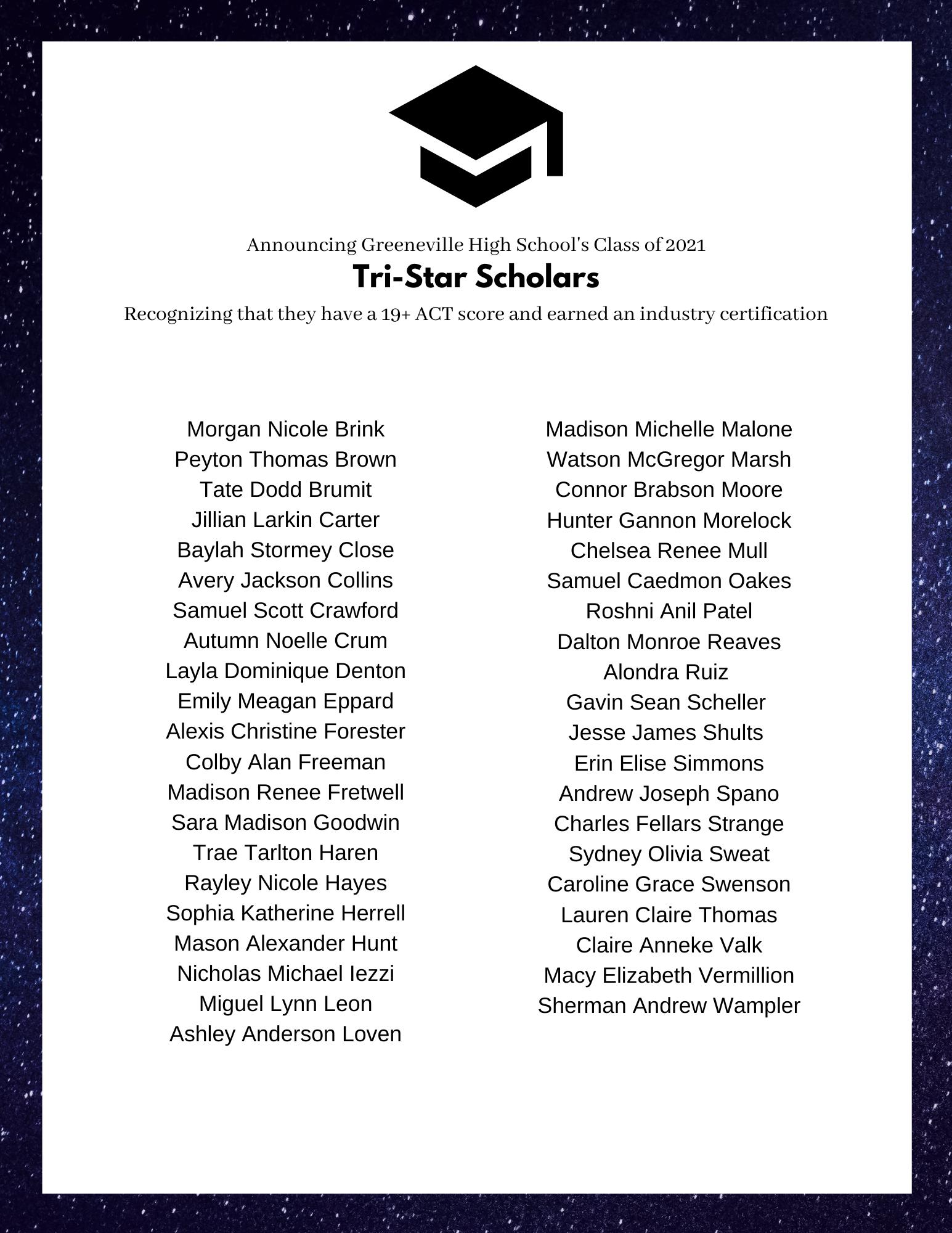 Class of 2021 Tri-Star Scholars