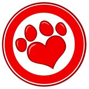 Heart paw print logo
