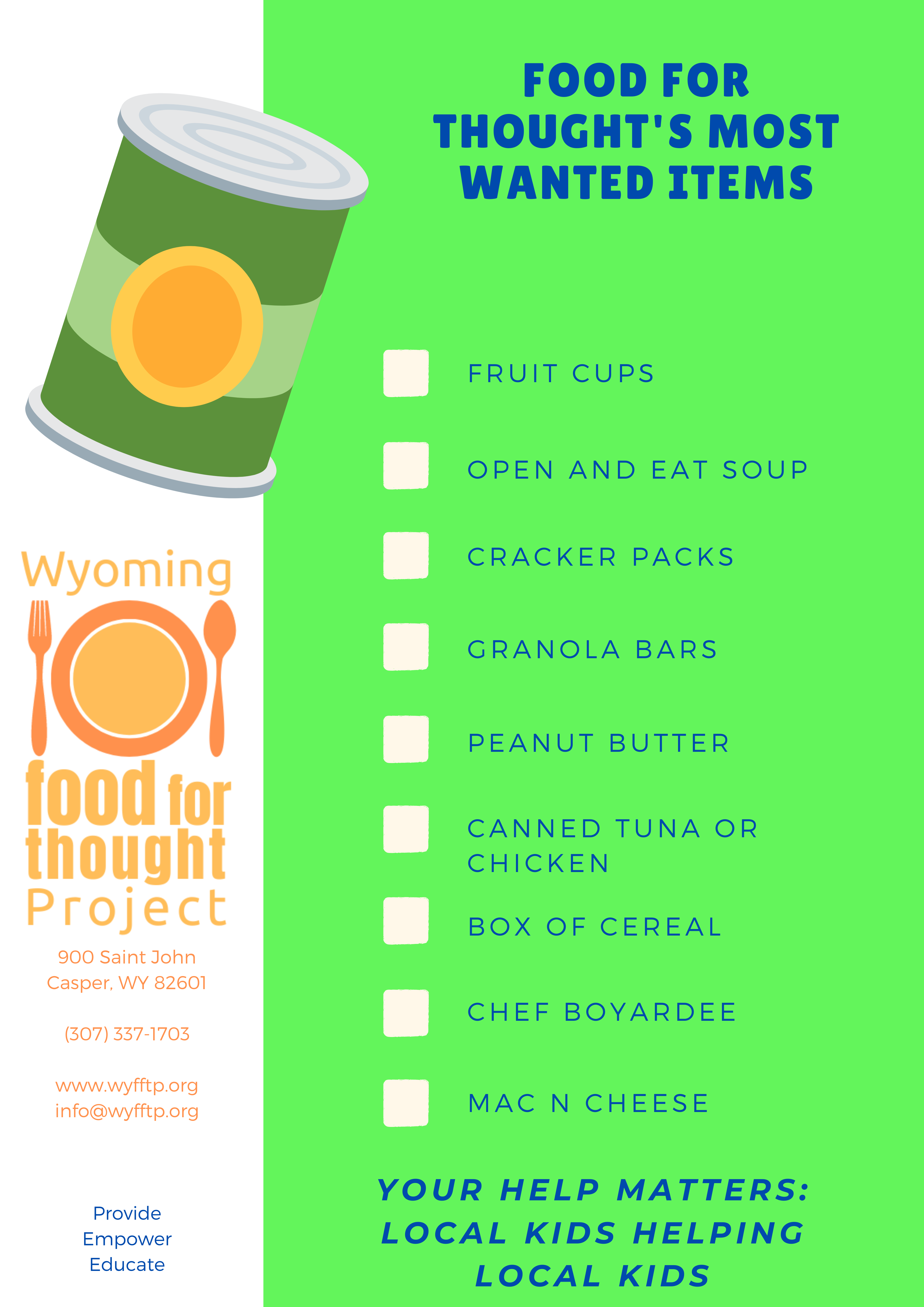 Wyoming Food for Thought most needed items flyer