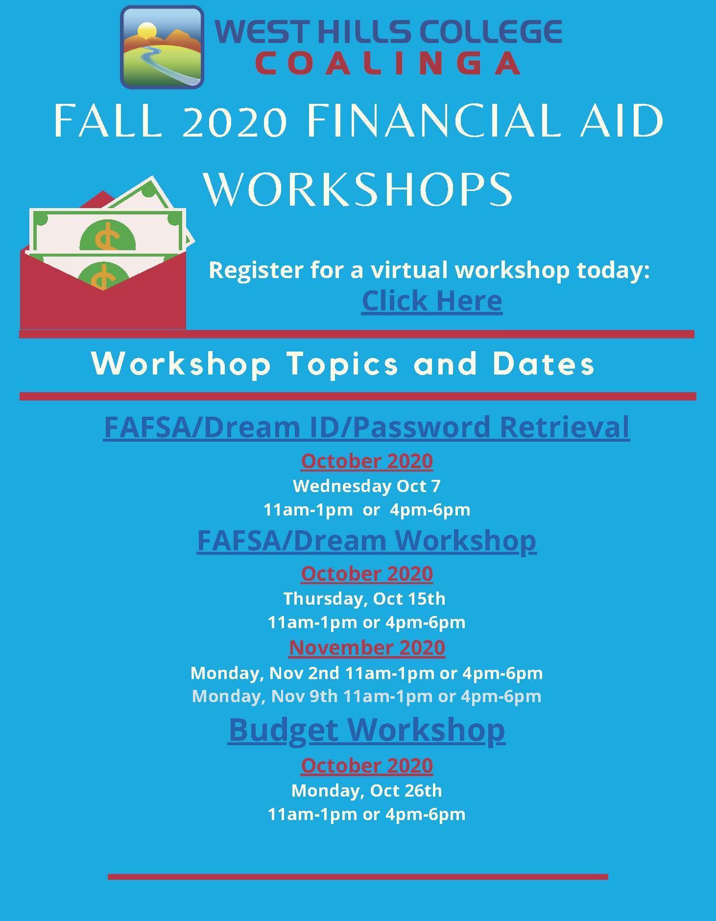 Fall 2020 Financial Aid Workshops