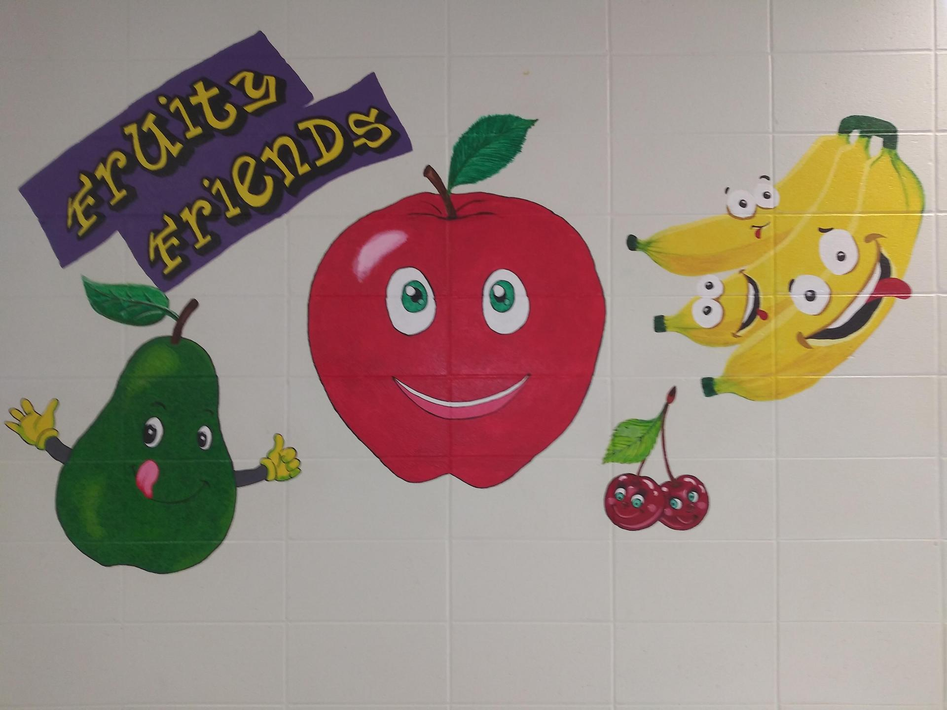 Brent Elementary Fruity Friends bullentin board.
