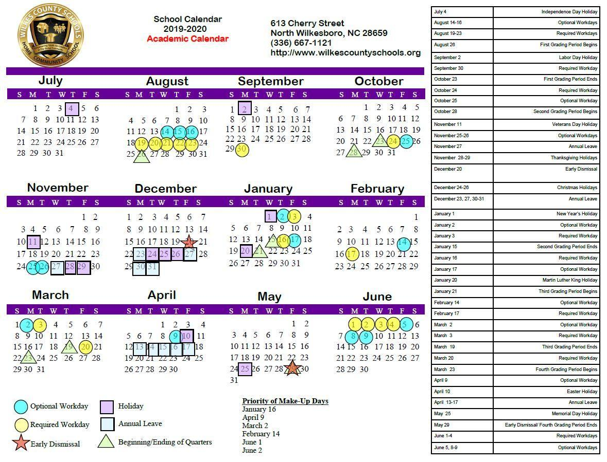 2019-20 Board-Approved Regular Academic Calendar (for the Upcoming School Year)