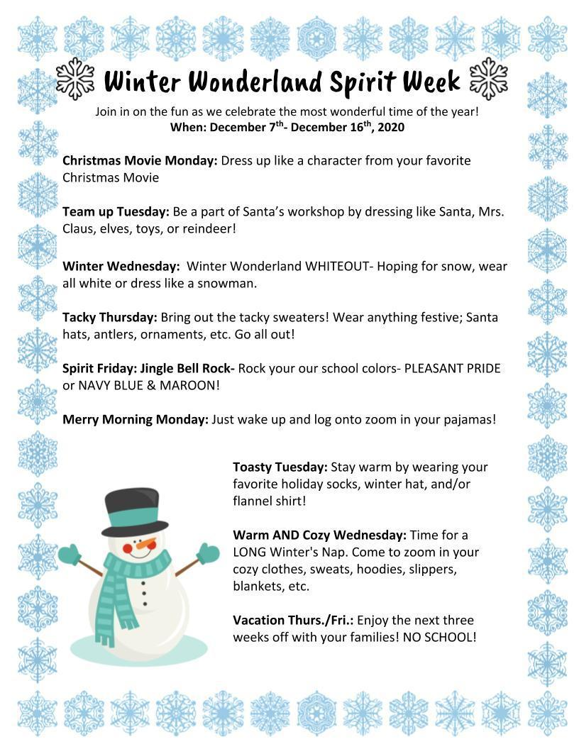Winter Wonderland Spirit Week