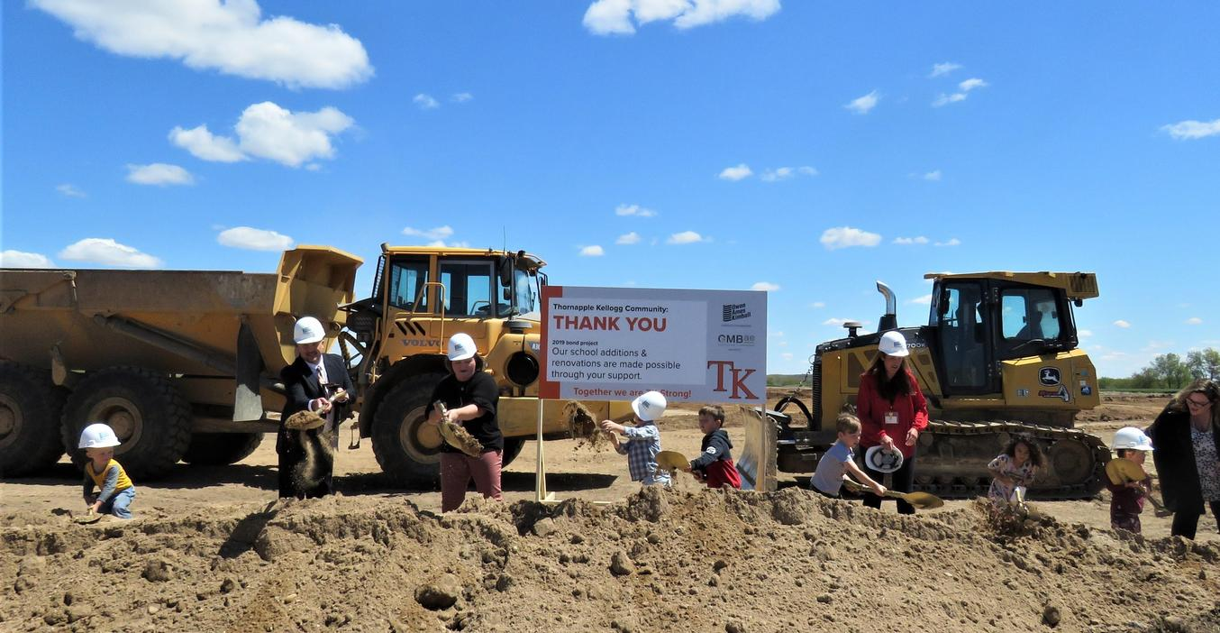 Preschool students and TK administrators and teachers officially break ground on the new TK Learning Center.