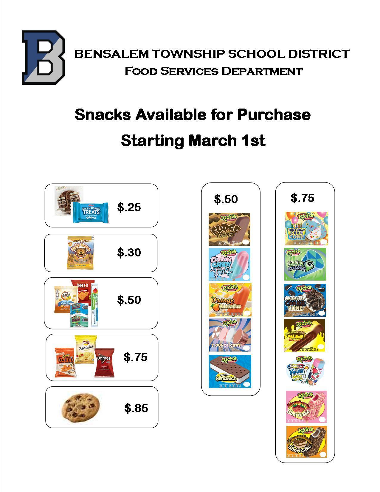 Starting March 1st Snacks will begin being available for Purchase in the cafeterias