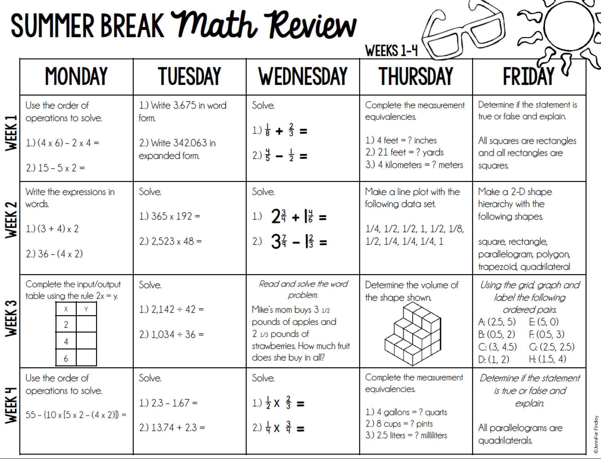Fifth math calendar