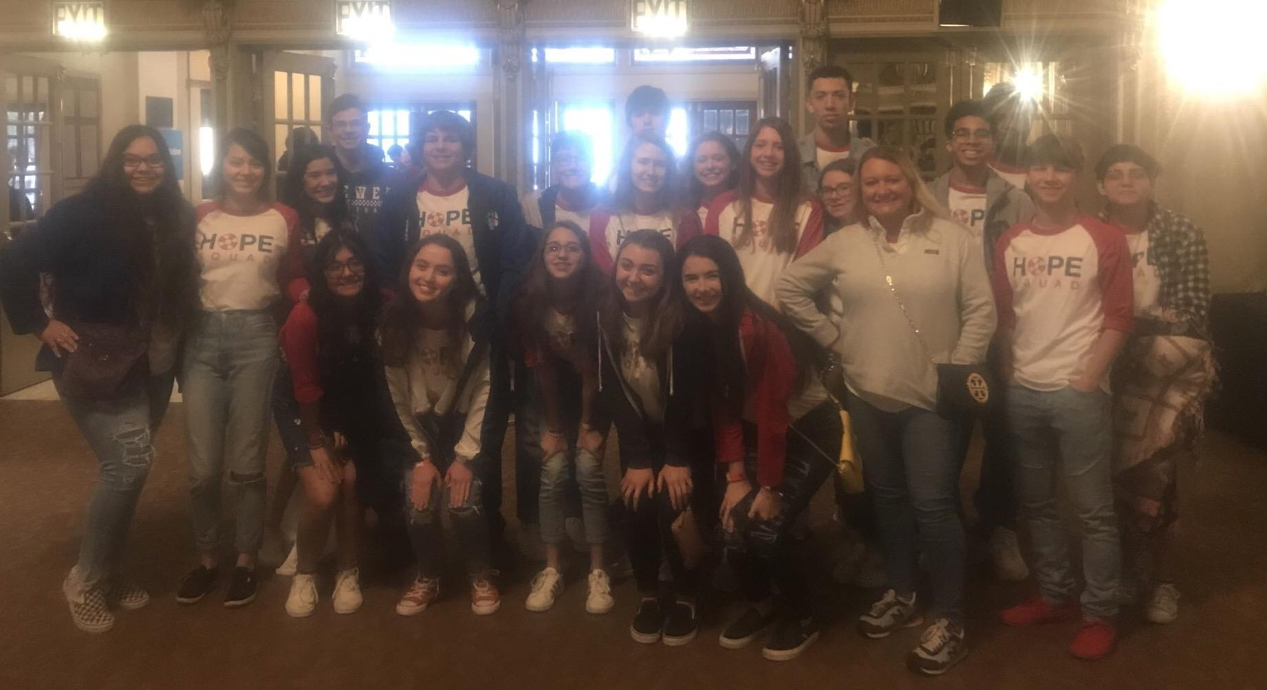 Brewer High School Hope Squad members were selected to attend the 2019 WE day at the Majestic Theatre in Dallas.