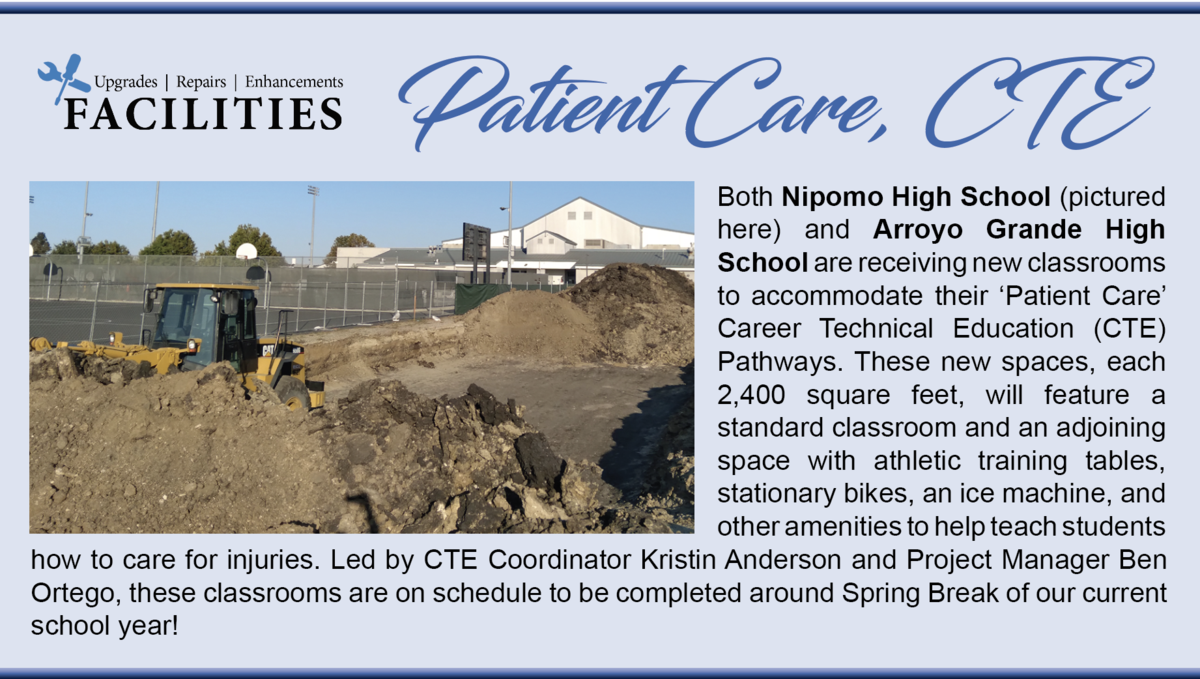 New Patient Care classrooms are going in at AGHS and NHS