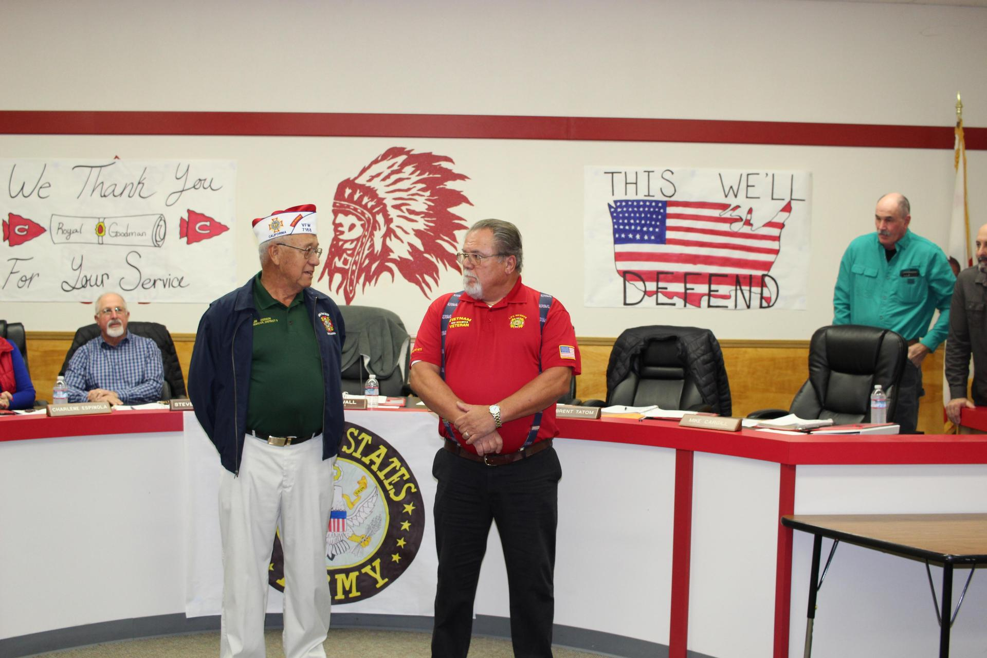 Royal Goodman is honored with words from a member of his VFW Post.