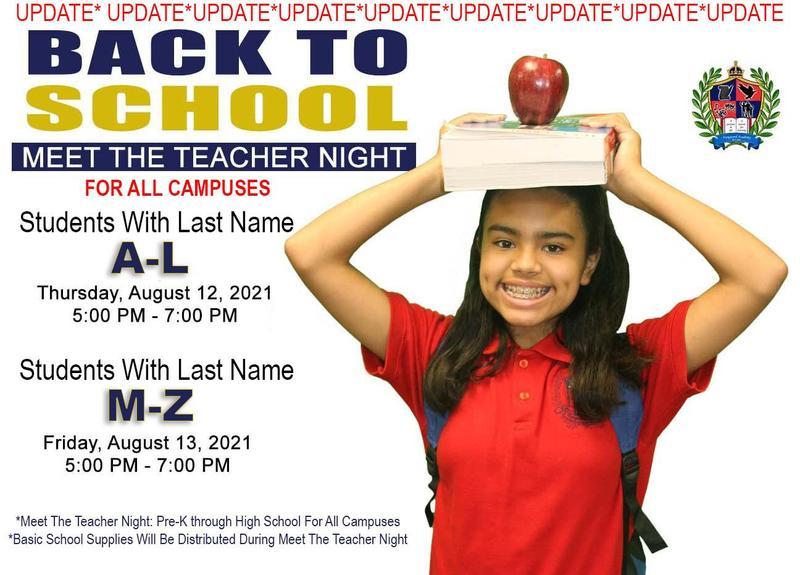 UPDATE: MEET THE TEACHER NIGHT Featured Photo