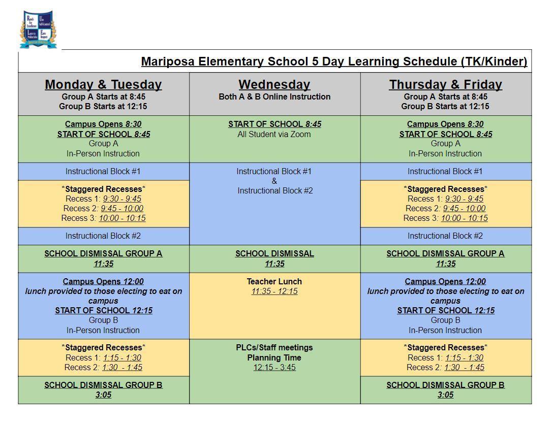 Mariposa Bell Schedule TK - K